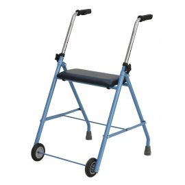 Andador para ancianos Plegable 2 ruedas con asiento color azul RUMBLE